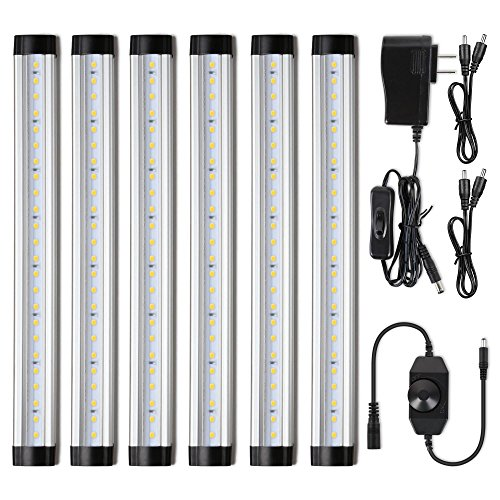 Albrillo LED Under Cabinet Lighting Kit Plug in, 6 pcs Cabinet Light Strips, Dimmable Under Coun ...