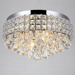 4 Lights Crystal Flush Mount Ceiling Lighting Fixture for Walking Way Living Room, Bedroom,Kitch ...