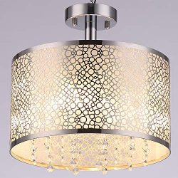 COTULIN Modern Light Living Room Bedroom Crystal Ceiling Light,Ceiling Light Fixture Round Black ...