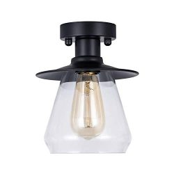 DIHUANG Lighting Vintage Industrial Semi Flush Mount Ceiling Light with Clear Glass Mini Cone Sh ...