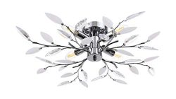 Ceiling Light with Acrylic Crystal Leaves and 4 Lights Decorative Chrome Finished Light Fixture, ...