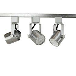 Direct-Lighting Brand H System 3-Lights GU10 7.5W LED (500 lumens Each) Track Lighting Kit 3000K ...