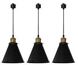 Kiven H-Type Track Lignting Pendant Antique Industrial Oil Rubbed Bronze Pendant Light 3 Pack,TB ...