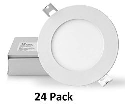 QPLUS 10W 4 Inch LED Recessed Lighting (3000K Warm White, 24 Pack), Canless Downlight Kit with J ...