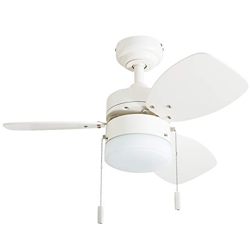 "Honeywell Ceiling Fans 50600-01 Ocean Breeze Contemporary, 30"" LED Frosted Light, Light Oak/Sati ..."