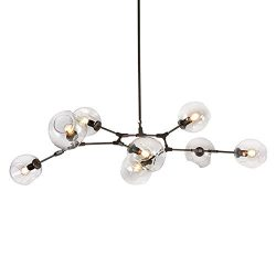 LUOLAX Modern Black Pendant Light Glass Chandelier with 7 Lights Fixture Hanging Flush Mount (7  ...