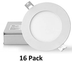 QPLUS 4 Inch 10W LED Recessed Lighting (3000K Warm White, 16 Pack), Ultra Thin Slim Wafer Low Pr ...