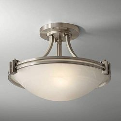 Deco Ceiling Light Semi Flush Mount Fixture Brushed Nickel 16″ for Bedroom Kitchen – ...