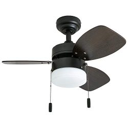 "Honeywell Ceiling Fans 50602-01 Ocean Breeze Contemporary, 30"" LED Frosted Light, Light Oak/Sati ..."