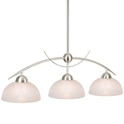 Kira Home Athena 31″ Contemporary 3-Light Pendant Island Light + Alabaster Glass Shades, A ...