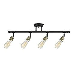 Globe Electric 59191 Rennes 4-Light Track Lighting Bulbs Included, Dark Bronze