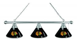 Chicago Blackhawks 3 Shade Billiard Light with Black Shades with Chrome Fixture