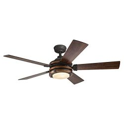 Barrington 52-in Distressed Black and Wood Downrod or Close Mount Indoor Ceiling Fan with Light  ...