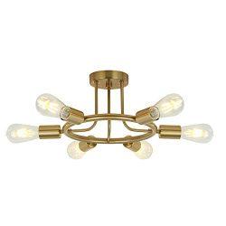 BONLICHT 6 Lights Semi Flush Mount Ceiling Light Brushed Brass Mid Century Modern Chandelier Lig ...