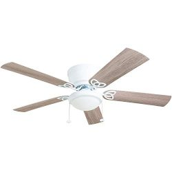 Prominence Home 50852-01 Benton Ceiling Fan Barnwood/White Blades, LED Globe Light Hugger/Low Pr ...