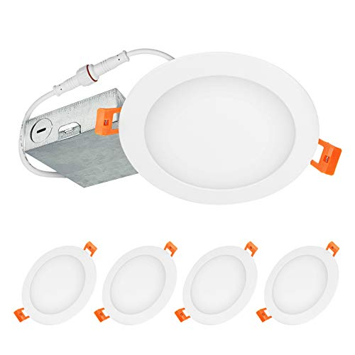 LUXTER (4 Pack) 6 inch Ultra-Thin Round LED Recessed Panel Light with Junction Box, Dimmable, IC ...