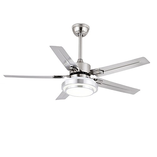FXY Modern 52″ Ceiling Fan with Remote 3-Color LED Changing Lights 5 Stainless Blades Reve ...