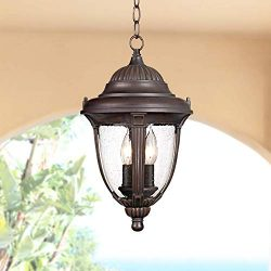 Casa Sierra Traditional Outdoor Ceiling Light Hanging Lantern Bronze 16 1/2″ Clear Seedy G ...