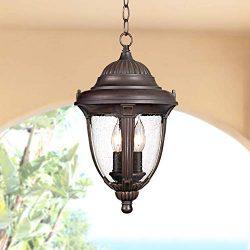 Casa Sierra Traditional Outdoor Ceiling Light Hanging Lantern Bronze 16 1/2″ Clear Seedy G ...