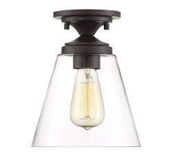 Trade Winds Lighting TW60047ORB Industrial Vintage Retro Fluted Clear Glass Loft Close to Ceilin ...