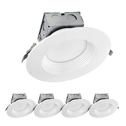 LUXTER (4 Pack) 6 inch LED Ceiling Recessed Downlight With Junction Box, LED Canless Downlight,  ...