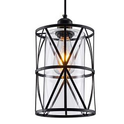 ShengQing Black Industrial Metal Swag Light, Cylindrical Pendant Light with Clear Glass Shape, N ...