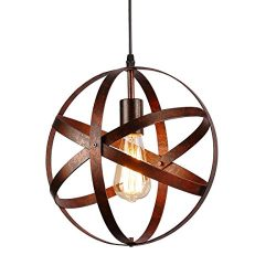 Industrial Vintage Globe Pendant Light Fixture,Metal Spherical Changeable Hanging Ceiling Light  ...