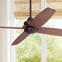 52″ Impel Mission Outdoor Ceiling Fan Oil Rubbed Bronze Walnut Wood Damp Rated for Patio P ...