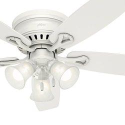 Hunter Fan 52 inch Traditional Ceiling Fan in White with Swirled Marble Glass Light Kit (Renewed)