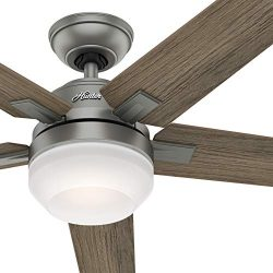 Hunter Fan 54 inch Contemporary Matte Silver Indoor Ceiling Fan with Light Kit and Remote Contro ...