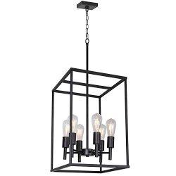 VINLUZ Classic Foyer Pendant Lighting 6 Light Black Farmhouse Chandelier Finish with Square Cage ...
