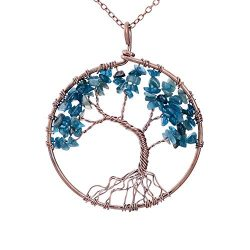 Family Root Wire Wrapped Tree of Life Crystal Pendant Necklace Charm Light Sapphire Pendant Sept ...