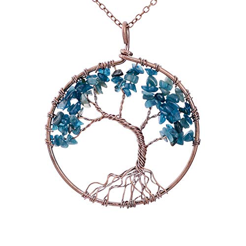 Family Root Wire Wrapped Tree Of Life Crystal Pendant
