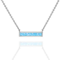 PAVOI 14K White Gold Plated Thin Bar Light Blue Created Opal Necklace 16-18″