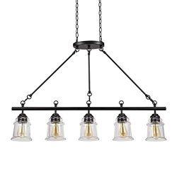 Stone & Beam Modern Farmhouse Dark Bronze 5-Light Island Pendant, 29″ H, With  Bulbs,  ...