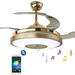 """Fandian 42"""" Modern Ceiling Fans with Light Smart Bluetooth Music Player Chandelier 7 Color ..."""
