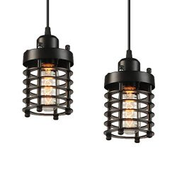 Industrial Pendant Light Licperron E26 E27 Base Edison Caged Industrial Hanging Pendant Light Vi ...