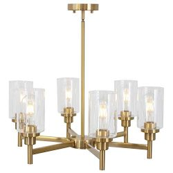 6 Light VINLUZ Interior Chandelier Brushed Brass Classic Industrial Hanging Pendant Lighting Fin ...