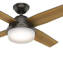 Hunter Fan 44 inch Contemporary Noble Bronze Indoor Ceiling Fan with LED Light Kit and Remote Co ...