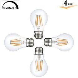 A19 LED Vintage 8Watt Light Bulb, E26 Edison Style Filament bulbs, A60 Dimmable light, 75 watt h ...