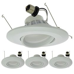 LEDwholesalers 6″ (5″-Compatible) Recessed Dimmable 15W LED Adjustable Head Downligh ...