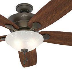 Hunter Fan 60 inch New Bronze Ceiling Fan with LED Light Kit, 5 Blade (Renewed)