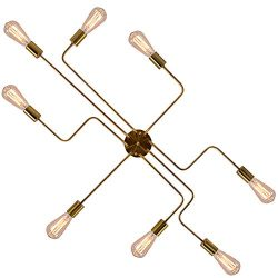 OYI Industrial Ceiling Sputnik Chandelier Lighting, 8 Lights Semi Flush Mount Ceiling Light Mode ...