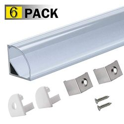 StarlandLed 6 Pack 1M/3.3ft V-Shape LED Channel Aluminum with Clear PC Cover for Strip Lights Mo ...