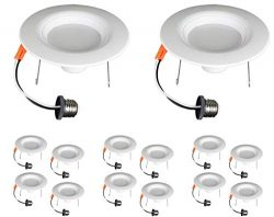 TCP 14 Pack LED 6″ Recessed Downlight Retrofit Kit,1400 Lumens, Dimmable, Soft White (2700 ...