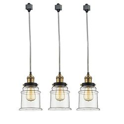 Kiven Set of 3 H-Type Track Lighting Industrial Kitchen Pendant Light – Antique Brass Hang ...