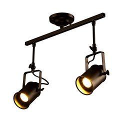 Vintage Matte Black Spotlight, Motent Industrial Retro Double Head Adjustable Metal Ceiling Lamp ...