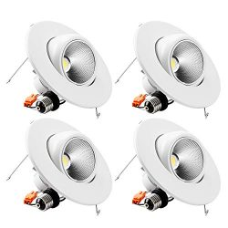 TORCHSTAR High CRI90+ 6inch Dimmable Gimbal Recessed LED Downlight, 10W (75W Equiv.), Energy Sta ...