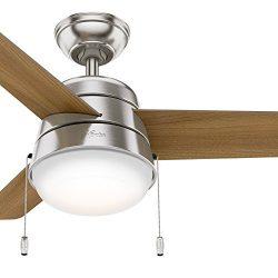 Hunter Fan 36 inch Ceiling Fan in Brushed Nickel with LED Light Kit (Renewed)
