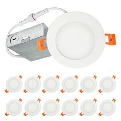 LUXTER (12 Pack) 4 inch Ultra-Thin Round LED Recessed Panel Light with Junction Box, Dimmable, I ...